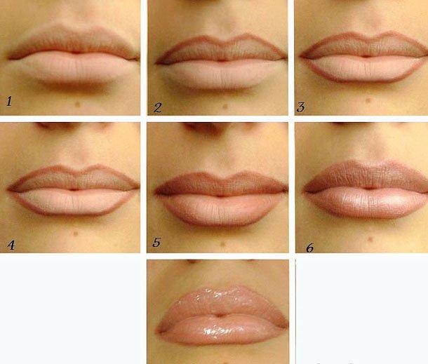 Как правильно красить губы пошагово